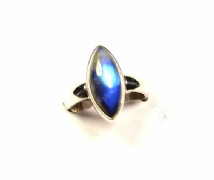 Marqui Rainbow Moonstone Ring Silver deep blue 'One-Off' size Q